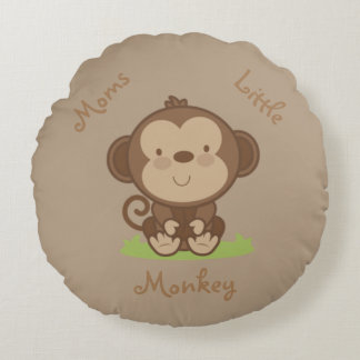 Moms Little Monkey Round Pillow