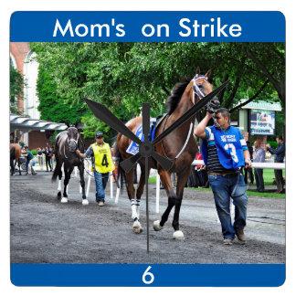 Mom's on Strike Square Wall Clock