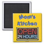 Mom's Open 24 Hours 2 Inch Square Magnet