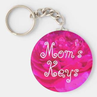 Mom's Pink Flower Keychain