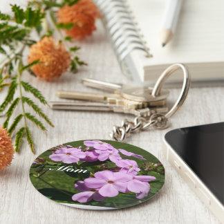 Mom's Pink Flowers Keychain
