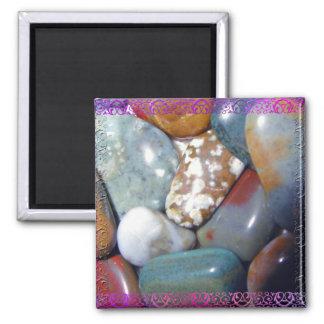Mom's Polished Rocks #1 2 Inch Square Magnet