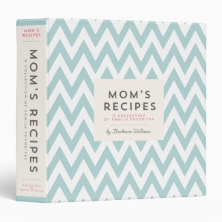 Mom's Recipe Binder - Vintage Blue Chevron