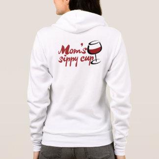 Moms red wine sippy cup hoodie