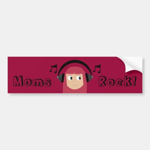 Moms Rock! Cute Cartoon Redhead Mom & Headphones Car Bumper Sticker