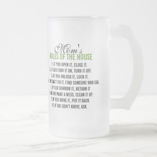 Mom's Rules of the House Frosted Glass Beer Mug