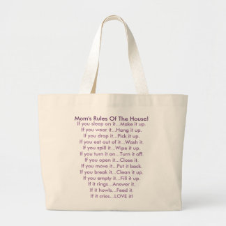 Mom's Rules Of The House Large Tote Bag