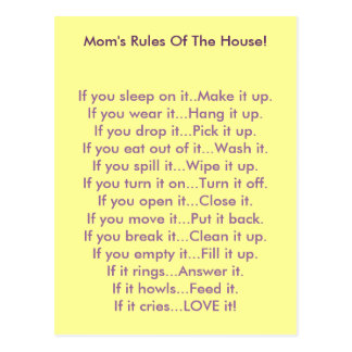 Mom's Rules Of The House Post Card
