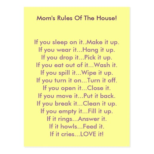 Moms Rules Of The House Postcard Zazzle
