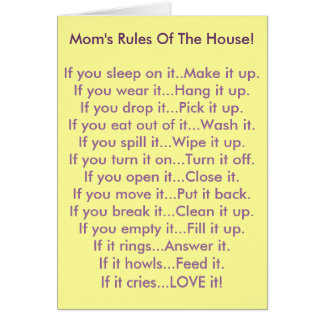 Mom's Rules Of The House Stationery Note Card