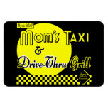 Moms Taxi and Drive Thru Grill Funny Retro Saying Rectangle Magnets