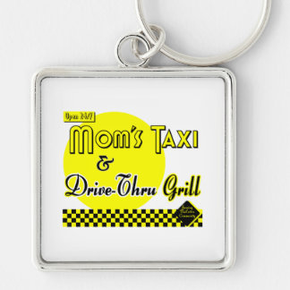 Moms Taxi and Drive-Thru Grill Silver-Colored Square Keychain