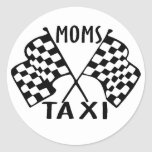 moms taxi classic round sticker