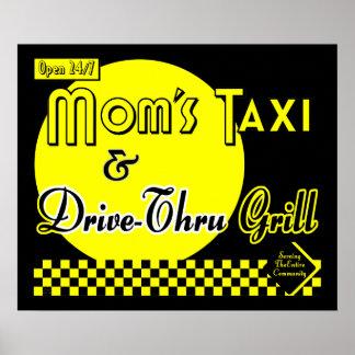 Moms Taxi & Drive Thru Grill Retro Kitchen Art Poster