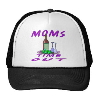 Moms Time Out Glass of Wine Mesh Hats