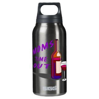 Moms Time Out Glass of Wine Insulated Water Bottle