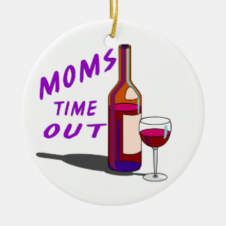 Moms Time Out Glass of Wine Double-Sided Ceramic Round Christmas Ornament