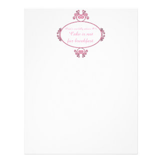 Mom's witty advice: Cake is not for breakfast. Personalized Letterhead