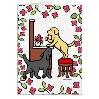 Mom's Yellow Lab and Black Lab Puppy Duo Card