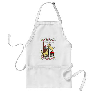 Mom's Yellow Lab Puppy Duo Adult Apron