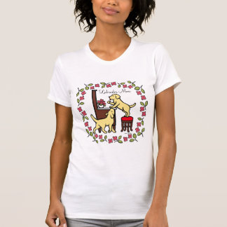 Mom's Yellow Lab Puppy Duo Floral T-Shirt