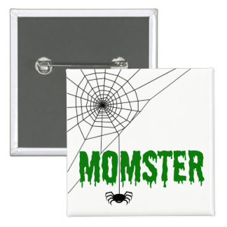 Momster Green Dripping Font Spider Web Pinback Button