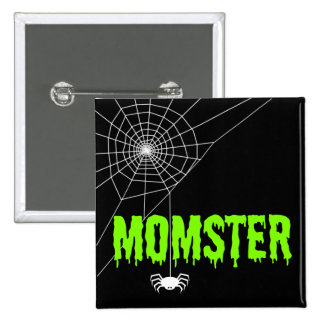 Momster Lime Green Dripping Font Spider Web Pinback Button