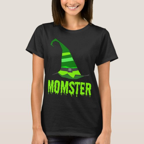 Momster Lime Green Dripping Font with Striped Witch Hat T-Shirt