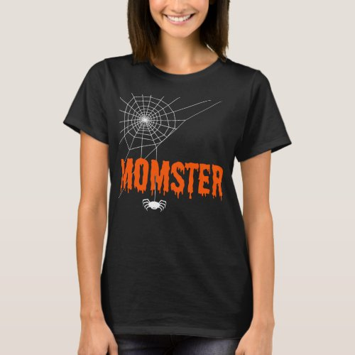 Momster Orange Dripping Font with Scary Spider Web T-Shirt