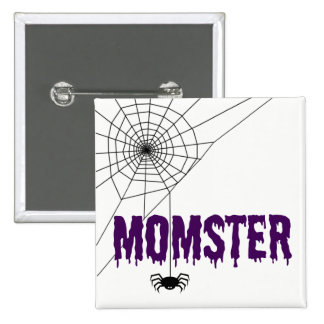 Momster Purple Dripping Font Spider Web Pinback Button