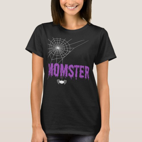 Momster Purple Dripping Font Spider Web T_Shirt