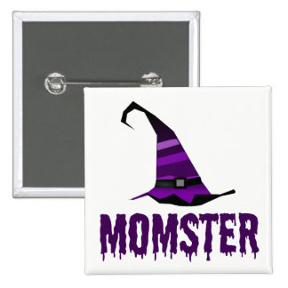 Momster Purple Dripping Font Witch Hat Pinback Button