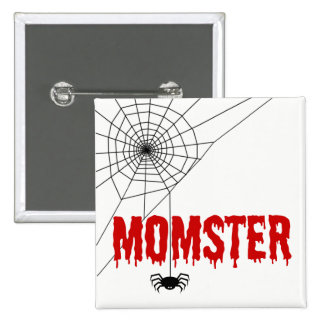 Momster Red Dripping Font Spider Web Pinback Button