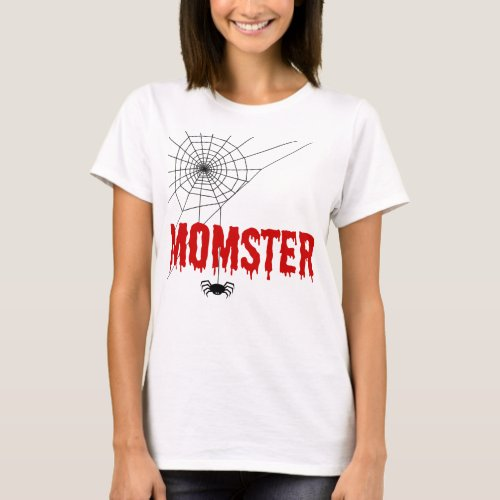 Momster Blood Red Dripping Font with Scary Spider Web T-Shirt