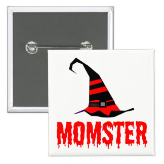 Momster Red Dripping Font Witch Hat Button
