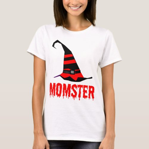 Momster Blood Red Dripping Font with Striped Witch Hat T-Shirt