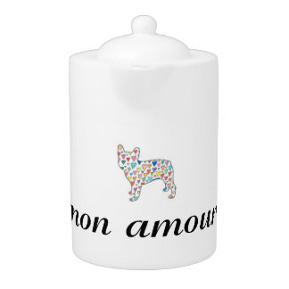 "mon amour ""my love"" frenchie tea pot"