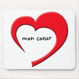 Mon Coeur II Mousepad (French, red on white)
