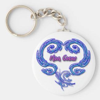 Mon Coeur Keychain (French - white)