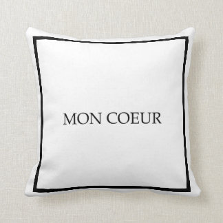 """Mon Coeur"" My Heart Guest Bedroom Throw Pillow"