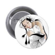 woman, illustration, dream, inspiring, dreams, design, girl, fantasy, artsprojekt, portrait, dreaming, sleeping, artistic, black, white, inspirational, contemporary, dreamer, pillow, Button with custom graphic design