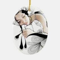woman, illustration, dream, inspiring, dreams, design, girl, fantasy, artsprojekt, portrait, dreaming, sleeping, artistic, black, white, inspirational, contemporary, dreamer, pillow, Ornamento com design gráfico personalizado