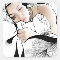 woman, illustration, dream, inspiring, dreams, design, girl, fantasy, artsprojekt, portrait, dreaming, sleeping, artistic, black, white, inspirational, contemporary, dreamer, pillow, Sticker with custom graphic design