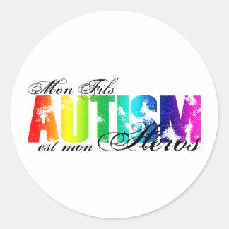 Mon Fils heros - Autism Classic Round Sticker