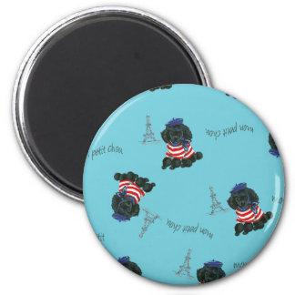 Mon Petit Chou Chou Black Poodle Puppy 2 Inch Round Magnet