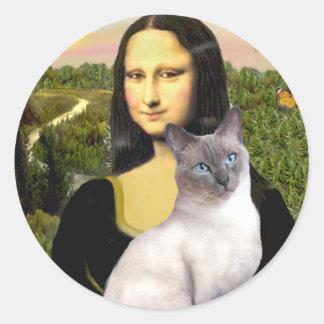 Mona Lisa - 24 siamés (punto azul) Etiquetas Redondas