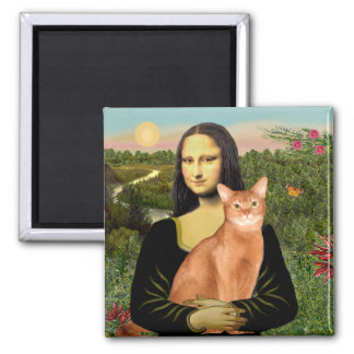Mona Lisa - abisinio rojo Imán Cuadrado