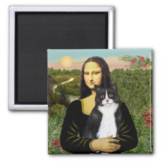 Mona Lisa - Am SH black and white cat 2 Inch Square Magnet