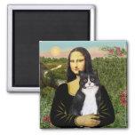 Mona Lisa - Am SH black and white cat Refrigerator Magnet