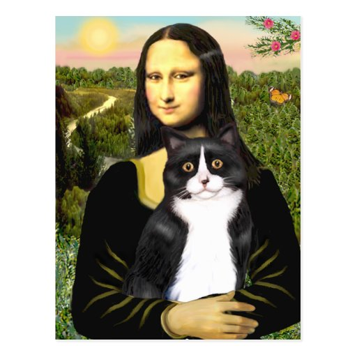 Mona Lisa - Am SH black and white cat Postcard